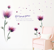 Fashion Purple Florals Fantasy Wall Stickers Plane Wall Stickers Decorative Wall Stickers Paper Material Home Decoration Wall Decal
