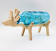 YouOKLight Creative Handmade Glass Bottle Wood Deer Night Light- Yellow/Red/Blue