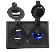 12v / 24v led blu presa sigaretta e 4.2a Dual USB adattatore voltmetro con pannello porta alloggiamento per barca auto camion rv