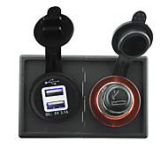 12V/24V Cigarette lighter adapter and 3.1A USB power socket with housing holder panel for car boat truck RV