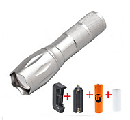 ZQ-G7000-Silver#1-US CREE XML-T6 2000LM Portable Zoom Flashlight Torch Kit 5Modes Range 400m with 1*Battery and Charger