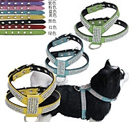 Cat Dog Harness Leash Adjustable/Retractable Vest Strobe/Flashing Handmade Soft Solid Rhinestone MosaicRed Black Green Blue Pink Yellow