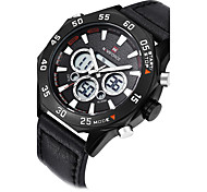 NAVIFORCE Men Watch Quartz Hour Digital Watch LED Sport Watch Military Army Leather Strap Wrist Watch