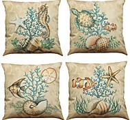 Set of 4 Marine biological pattern  Linen Pillowcase Sofa Home Decor Cushion Cover