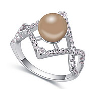 Ring Pearl Zircon Cubic Zirconia Alloy Crown Natural Yellow Bronze Light Blue Light Pink Light Green Jewelry Daily 1pc