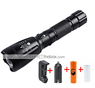 Lights LED Flashlights/Torch Flashlight Kits LED 2000 Lumens 5 Mode Cree XM-L T6 18650 AAA Adjustable Focus Rechargeable