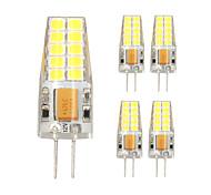 5pcs g4 20LED smd2835 ac / DC12V 7w 1000lm chaud / blanc de haute qualité à double broche lampe étanche à l'eau blanche