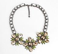 Women's Choker Necklaces Jewelry Gemstone Alloy Jewelry Flower Style Fashion Personalized Euramerican Dark Blue Yellow Light Green Jewelry