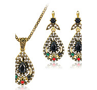 Jewelry Set Gemstone Resin Rhinestone Gold Plated Simulated Diamond Alloy Vintage Bohemian Jewelry Black Jewelry setParty Special