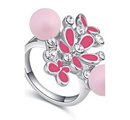 Ringe Blumenform Natur Alltag Schmuck Aleación Ring 1 Stück,13 15 17 Schwarz Weiß Rosa Himmelblau