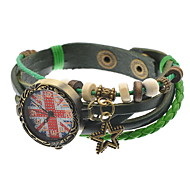 Bracelet Watch Quartz Leather Band Black Green