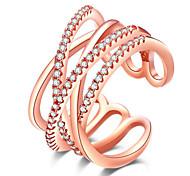 Bague Alliage Strass Plaqué Or Rose Imitation de diamant Bijoux euroaméricains Simple Style Blanc Rouge Rose BijouxSoirée Quotidien