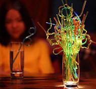 цветной Стаканы, # ml Одноразового использования Пластик Газированные напитки Сок Соломинки