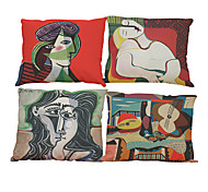 Set of 4 Famous painting Picasso  pattern Linen Pillowcase Sofa Home Decor Cushion Cover