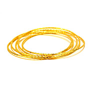 Bangles Copper Gold Plated 24K Plated Gold Natural Fashion Vintage Round Gold Jewelry 1pc