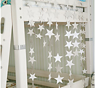 raylinedo® 1 Stück 4 Meter Silber Papiergirlande für Hochzeit Geburtstag Party Weihnachten Mädchen Raumdekoration Sterne 7 formen * 7cm