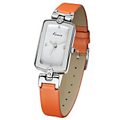 Women's Fashion Watch Quartz Genuine Leather Band Orange Brand