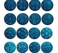 16pcs manicure flores plantilla de impresión de bricolaje manicura impresión de láminas de acero redondo de color azul de uñas