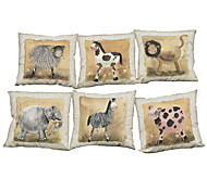 Set of 6 Nostalgic decorative painting pattern Linen Pillowcase Sofa Home Decor Cushion Cover (18*18inch)