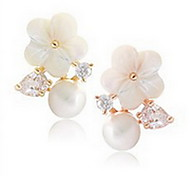 Stud Earrings Pearl Pearl Sterling Silver Shell Natural Fashion Flower Daisy White Jewelry Daily 1 pair