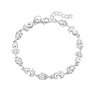 Women's Charm Bracelet Silver Plated Simulated Diamond Fashion Animal Shape Silver Jewelry 1pc