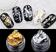1pcs Nail Art Gold Silver Flake Chip Foil Kit Acrylic Gel Polish Tips 3D Design Sticker Manicure Pedicure Decaly