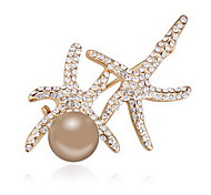 Women's Brooches Crystal Pearl Alloy Natural Animal Shape White Dark Blue Gray Bronze Jewelry Daily