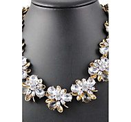 Women's Strands Necklaces Jewelry Alloy Simulated Diamond Jewelry Flower Style Vintage Personalized Euramerican White JewelryParty