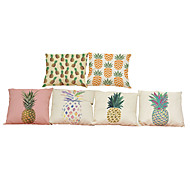 Set of 6  Creative  oil painting pineapple  pattern Linen Pillowcase Sofa Home Decor Cushion Cover (18*18inch)