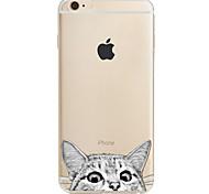 Para Estampada Capinha Capa Traseira Capinha Gato Macia TPU para AppleiPhone 7 Plus iPhone 7 iPhone 6s Plus/6 Plus iPhone 6s/6 iPhone