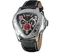 Unisex Orologio alla moda orologio meccanico Meccanico a carica manuale Carica automatica Quadrante grande Vera pelle Banda CasualNero