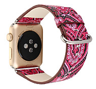 National Vintage Folk Style Floral Colorful Genuine leather Watch Band Strap for Apple Watch iwatch 38/42mm Bracelet