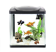 Mini Aquariums Background 4W LED Light 2.5W Water Pump Plastic Black White
