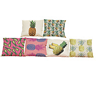 Set of 6  Oil painting pineapple  pattern Linen Pillowcase Sofa Home Decor Cushion Cover (18*18inch)
