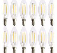 2W E14 Lampadine LED a incandescenza C35 2 COB 200 lm Bianco caldo Decorativo AC 220-240 V 12 pezzi