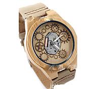 Unisex Modeuhr Uhr Holz Quartz Leder Band Beige Beige