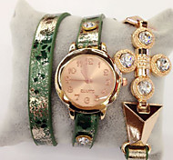 Fashion Watch Quartz Leather Band Casual Green Pink
