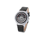 Women's Fashion Watch Quartz Imitation Diamond Leather Band Black White Blue Red Pink Brand