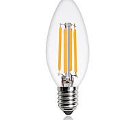 1pcs 4W E14 Edison LED Filament Bulbs C35 COB 360lm Warm/Cool White Color Led Candle Light Antique Retro Vintage Led Bulb Incandescent Lig AC220-240V