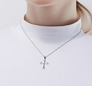 Pendant Necklaces Crystal / Sterling Silver Cross Basic Dangling Style Silver Jewelry Daily Casual 1pc