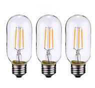 3шт 4w b22 / e27 светодиодные лампы накаливания t45 4cob 300 lm теплый белый диммируемый ac 220-240 ac 110-130 v