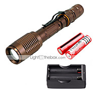 U'King ZQ-X1020C#-US CREE XML T6 2000LM Zoomable 5Modes Flashlight Torch Kit with Batteries and Battery Charger