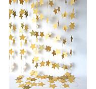 raylinedo® 1 Stück 4 Meter goldenen Papiergirlande für Hochzeit Geburtstag Party Weihnachten Mädchen Raumdekoration Sterne Form 10 * 10cm