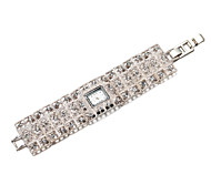 Women's Diamante Square Dial Alloy Band Quartz Analog Fashion Watch