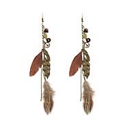 Bohemia Women Leaf Feather Drop Earrings