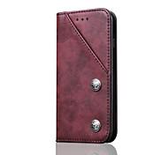 Para Porta-Cartão Com Suporte Flip Capinha Corpo Inteiro Capinha Cor Única Rígida Couro Legitimo para AppleiPhone 7 Plus iPhone 7 iPhone