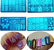 8шт / комплект горячей продажи поделок способа штамповки трафареты красочные сладкий дизайн ногтей из нержавеющей стали штамповки пластины