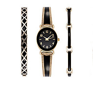 Luxury Ladies Watch Dress Watch Fashion women Watch Wristwatches Bracelet Watch Set Quartz Imitation Diamond Bohemian Charm Bangle(3pcs/set)