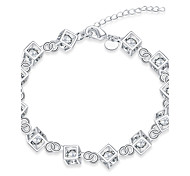 Exquisite Simple Silver Plated Water Cube Style Chain & Link Bracelets Jewellery for Women Accessiories