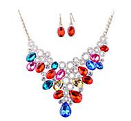 European Fashion Diamond Necklace Earrings Set Bride Exaggerated